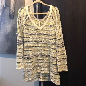 Free people yellow, grey, and black sweater